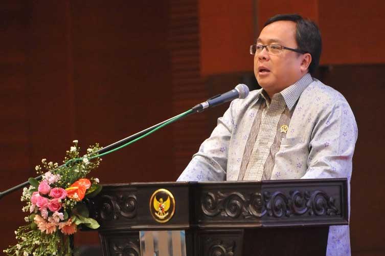 Menteri Keuangan, Bambang Brodjonegoro, memberikan pidato pada peluncuran DIPI, di Jakarta, 30 Maret 2016